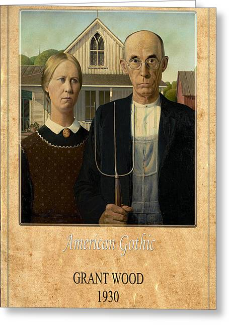 Grant Wood Greeting Cards - Grant Wood 1 Greeting Card by Andrew Fare