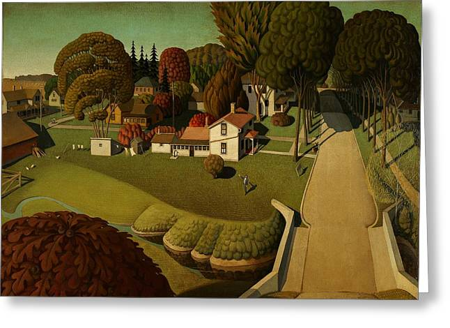 Grant Wood Greeting Cards - Grant Wood Birthplace of Herbert Hoover 1931 Greeting Card by Movie Poster Prints