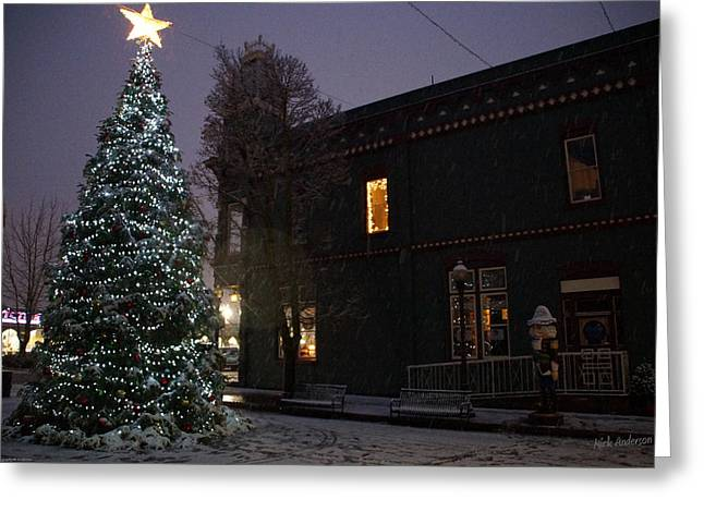 Grants Pass Town Center Christmas Tree Greeting Card by Mick Anderson
