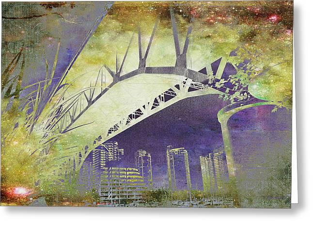 Kathy Bassett Greeting Cards - Granville Street Bridge - Inside Out Greeting Card by Kathy Bassett