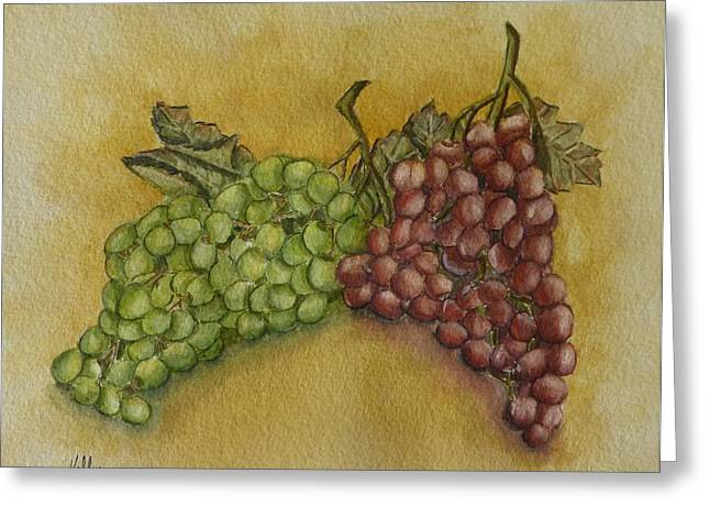 Clusters Of Grapes Greeting Cards - Grape Cluster Greeting Card by Kelly Mills