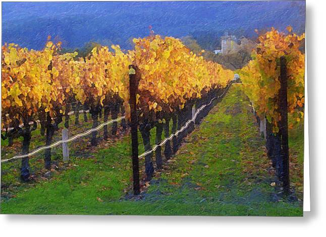 Grape Leaves Digital Greeting Cards - Grape Crop Greeting Card by Ron Regalado