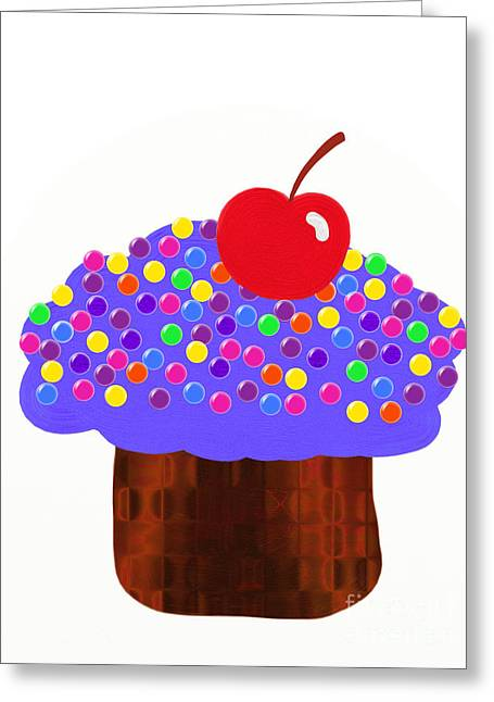 White Grape Digital Art Greeting Cards - Grape Cupcake Greeting Card by Andee Design
