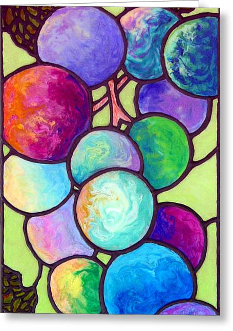 Clusters Of Grapes Paintings Greeting Cards - Grape de Chine Greeting Card by Sandi Whetzel