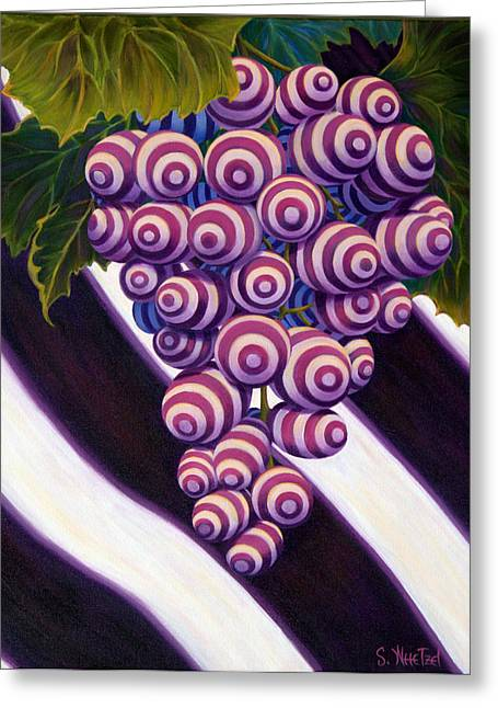 Clusters Of Grapes Paintings Greeting Cards - Grape de Menthe Greeting Card by Sandi Whetzel