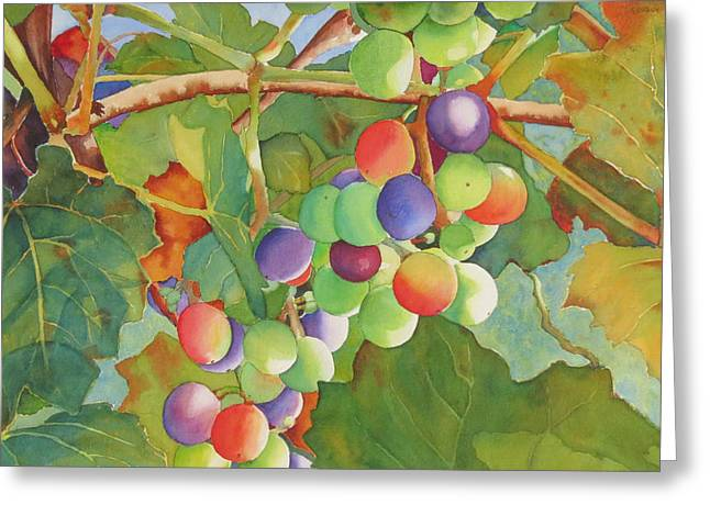 Purple Grapes Greeting Cards - Grape Fusion Greeting Card by Judy Mercer