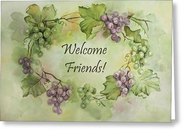 Becky Greeting Cards - Grape Garland Welcome  Greeting Card by Becky West