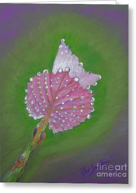Grapevines Pastels Greeting Cards - Grape Leaves Greeting Card by Rae  Smith
