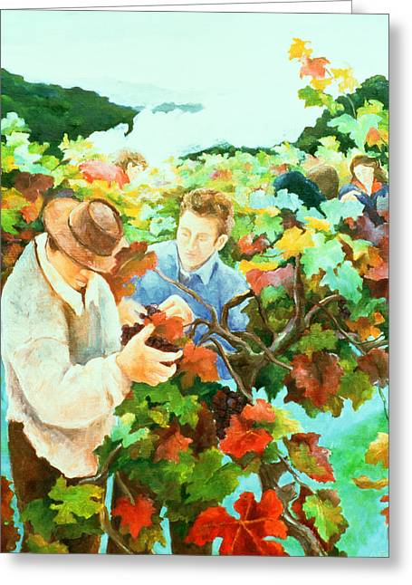 Grape Vineyard Greeting Cards - Grape Pickers Greeting Card by Cristiana Angelini