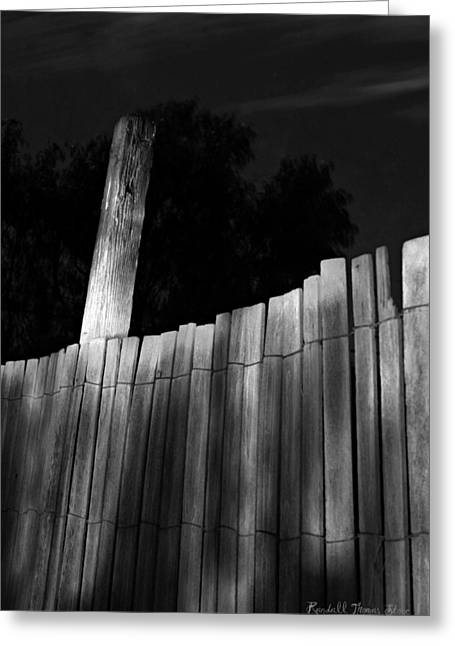 White Pickett Fences Greeting Cards - Grape Pickett at Night Greeting Card by Randall Thomas Stone