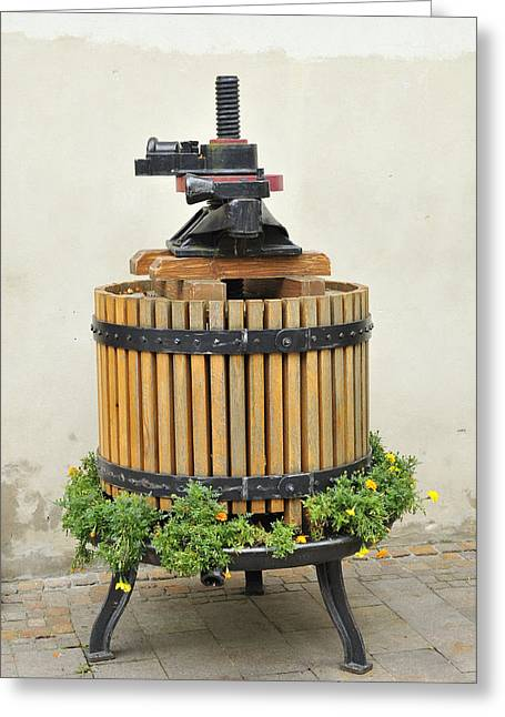 Winepress Greeting Cards - Grape press Greeting Card by Matthias Hauser