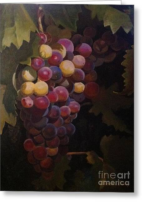 Grapevines Pastels Greeting Cards - Grape Rhapsody Greeting Card by Evonne Bishop