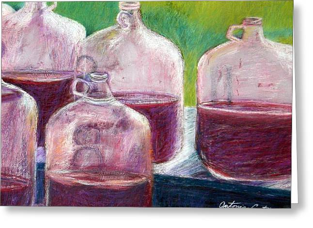 Jugs Pastels Greeting Cards - Grape Stomp Residuals Pastel Greeting Card by Antonia Citrino