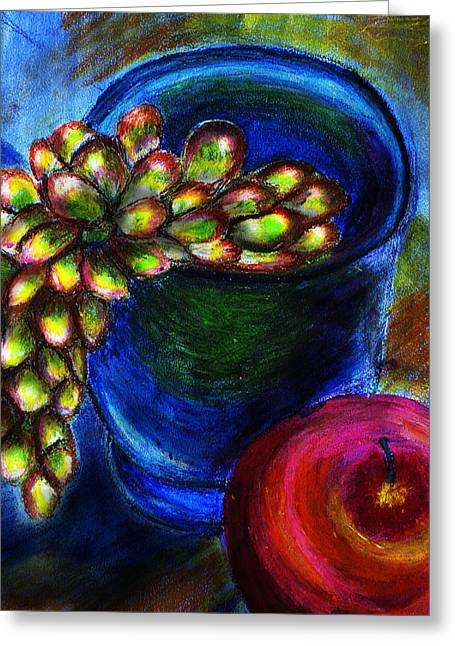 Dine Pastels Greeting Cards - Grape Vase Still Life Greeting Card by Cathryn Jenner