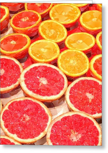 Grapefruit Paintings Greeting Cards - Grapefruit and Oranges Greeting Card by Chris Butler