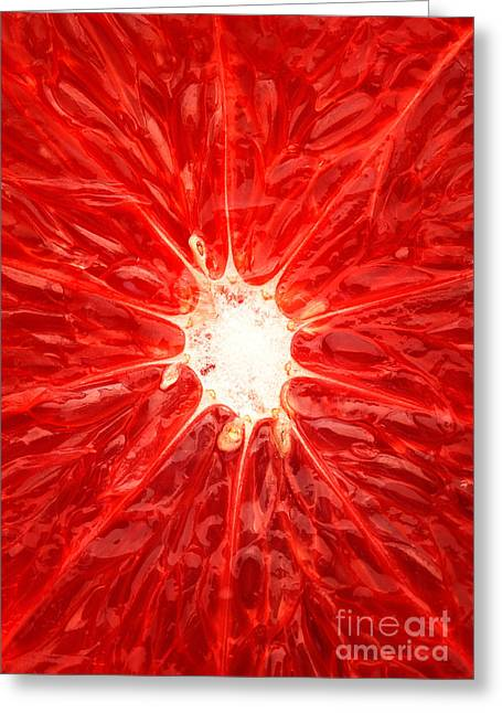 Slices Greeting Cards - Grapefruit close-up Greeting Card by Johan Swanepoel