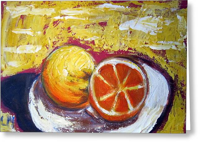 Grapefruit Paintings Greeting Cards - Grapefruit Greeting Card by Lia  Marsman