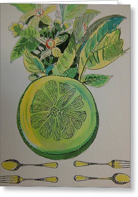 Grapefruit Drawings Greeting Cards - Grapefruit Greeting Card by Olivier Calas