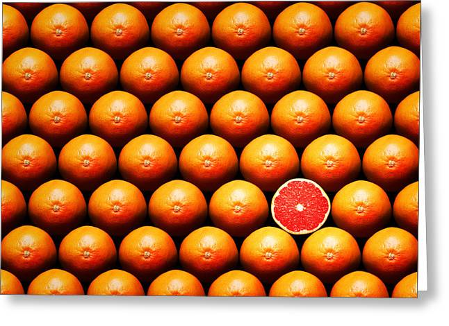 One Photograph Greeting Cards - Grapefruit slice between group Greeting Card by Johan Swanepoel