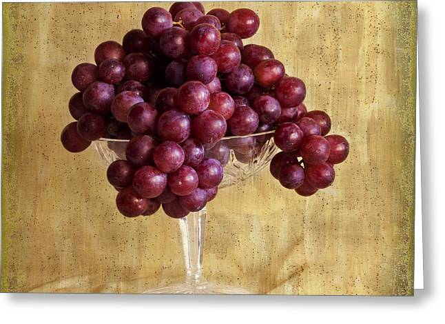 Interior Still Life Greeting Cards - Grapes And Crystal Still Life Greeting Card by Sandra Foster