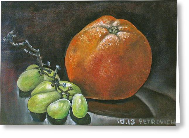Grapes And Grapefruit Greeting Card by Petrovich