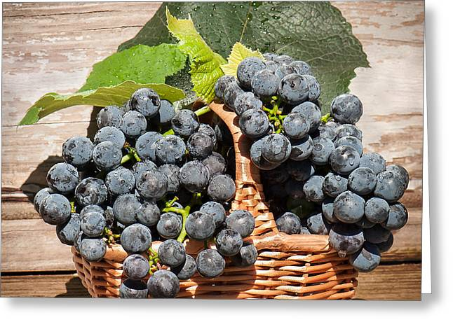 Concord Greeting Cards - Grapes And Leaves In Basket Greeting Card by Len Romanick