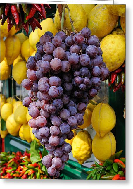 Italian Market Greeting Cards - Grapes and lemons - fresh fruit Greeting Card by Matthias Hauser