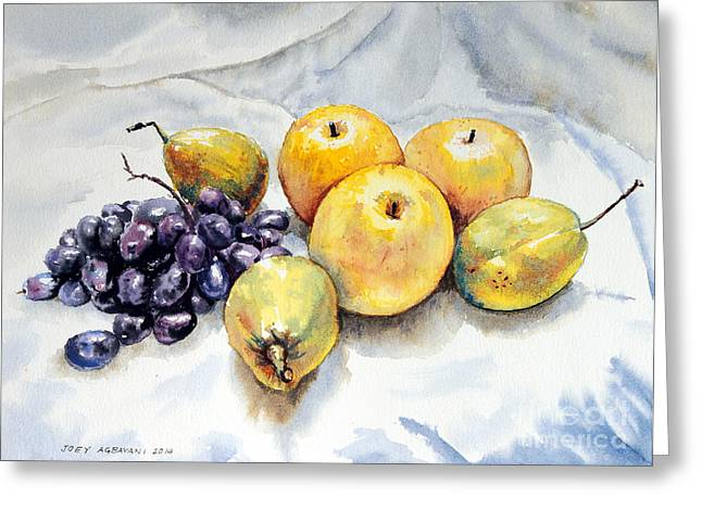 Blue Grapes Greeting Cards - Grapes and Pears Greeting Card by Joey Agbayani