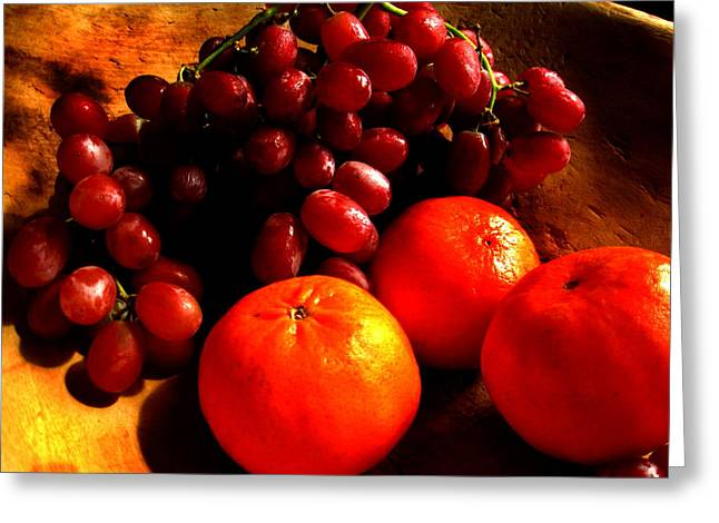 Rembrandt Lighting Greeting Cards - Grapes and Tangerines Greeting Card by Greg Allore