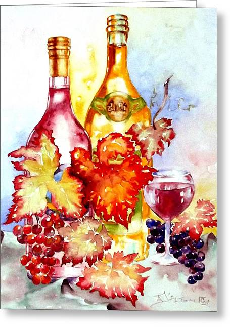 Grapes And Wine Greeting Card by Anne Dalton