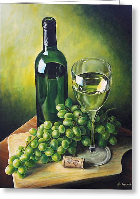 Hyper-realism Paintings Greeting Cards - Grapes and Wine Greeting Card by Kim Lockman