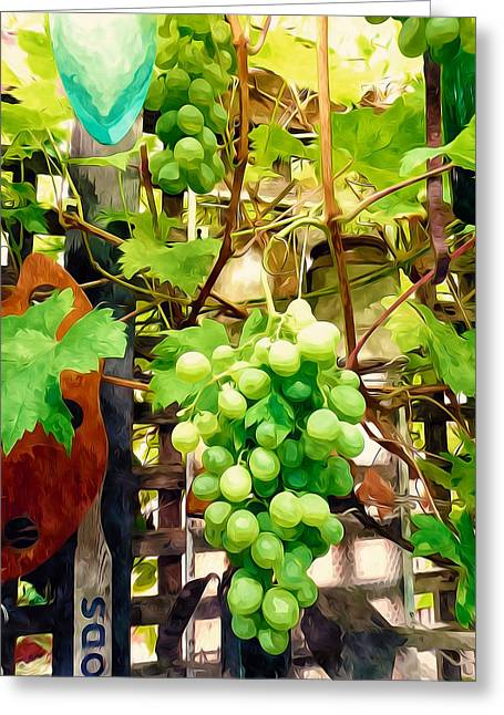 Branch Greeting Cards - Grapes and wooden fence Greeting Card by Lanjee Chee