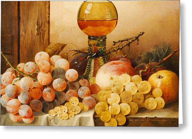Ledge Greeting Cards - Grapes apples plums and a peach with hock glass on draped ledge Greeting Card by Edward Ladell