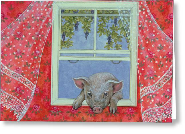 Draped Greeting Cards - Grapes at the Window Greeting Card by Ditz