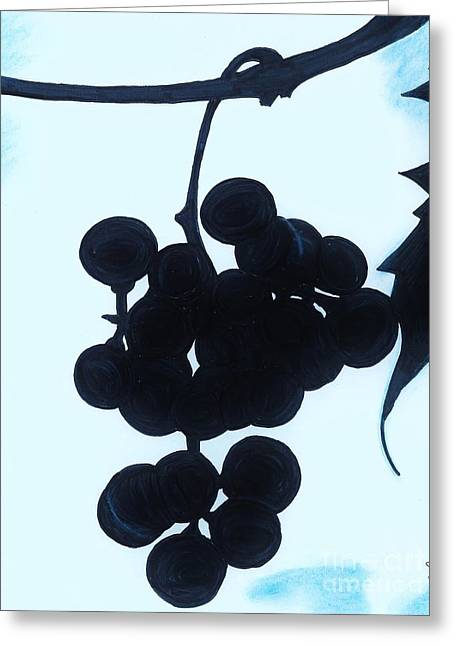 Blue Grapes Drawings Greeting Cards - Grapes Greeting Card by D Hackett