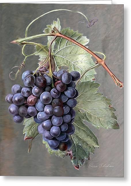 Grape Vine Greeting Cards - Grapes Greeting Card by Enzie Shahmiri