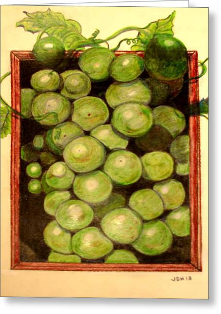 Grape Vine Drawings Greeting Cards - Grapes From A Frame Greeting Card by Joseph Hawkins