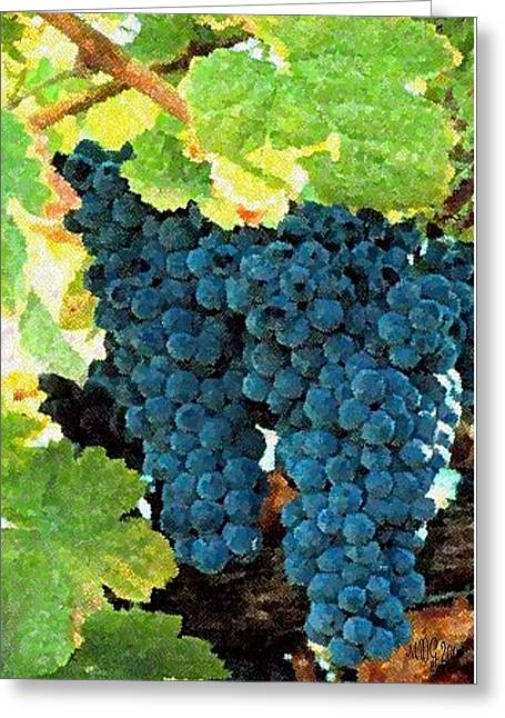 Grape Pastels Greeting Cards - Grapes Fruit On The Vine Greeting Card by Olde Time  Mercantile