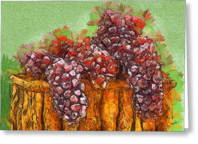 Blue Grapes Drawings Greeting Cards - Grapes Greeting Card by George Rossidis