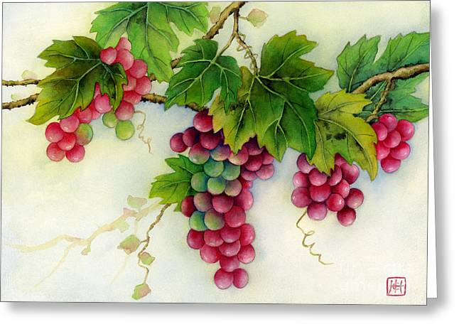 Grape Vines Paintings Greeting Cards - Grapes Greeting Card by Hailey E Herrera
