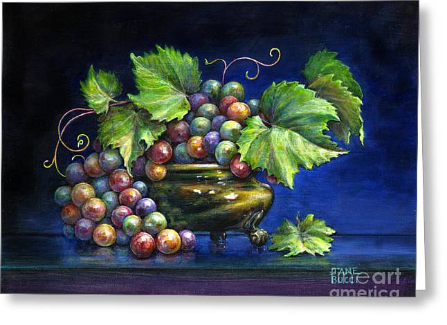 Occupy Greeting Cards - Grapes in a Footed Bowl Greeting Card by Jane Bucci