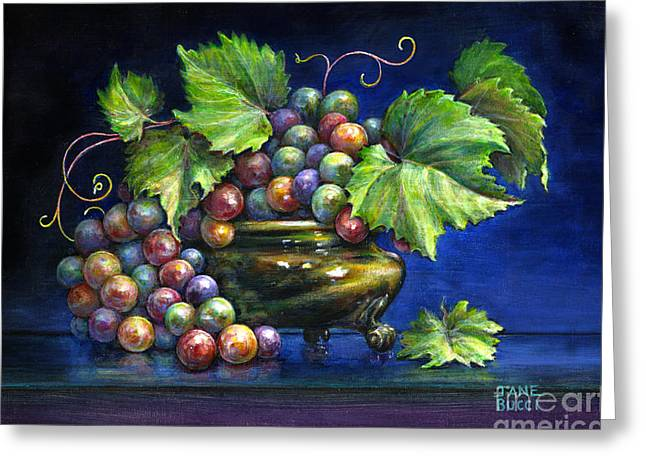 Grapes in a Footed Bowl Greeting Card by Jane Bucci