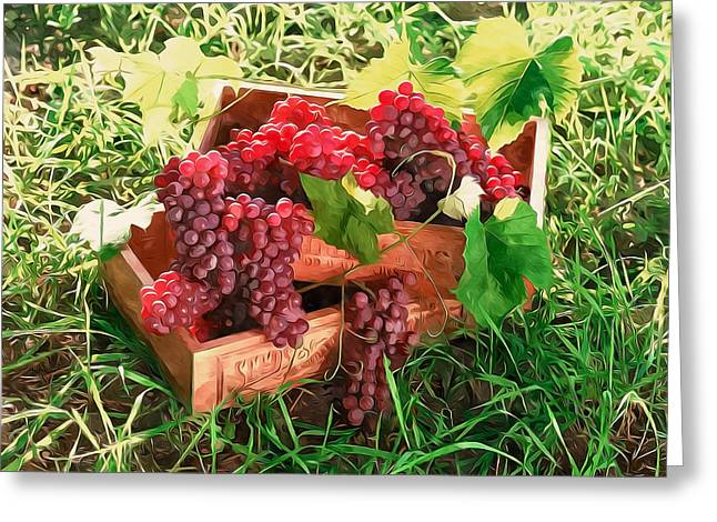 Viticulture Paintings Greeting Cards - Grapes in a wooden crate box Greeting Card by Lanjee Chee