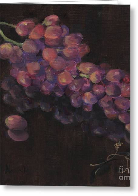 Fruit And Wine Greeting Cards - Grapes in Reflection Greeting Card by Maria Hunt