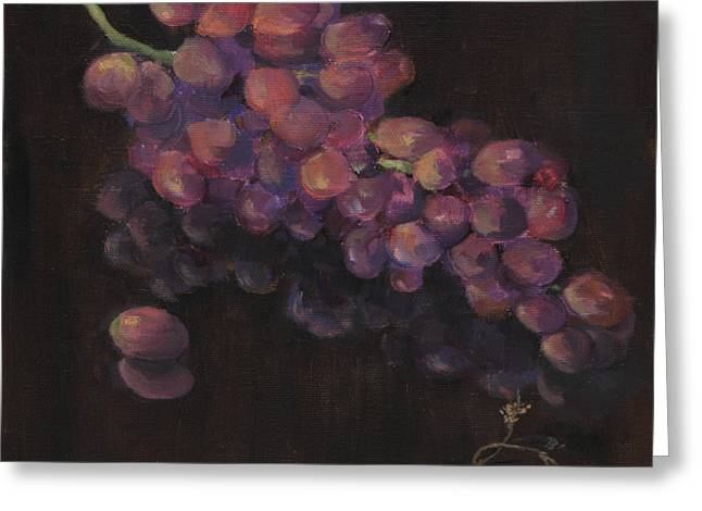 Grapes In Reflection Greeting Card by Maria Hunt