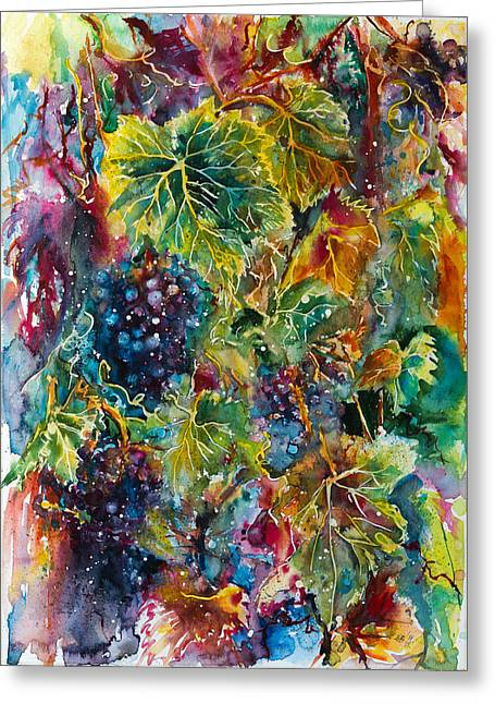 Blue Grapes Greeting Cards - Grapes Greeting Card by Kovacs Anna Brigitta