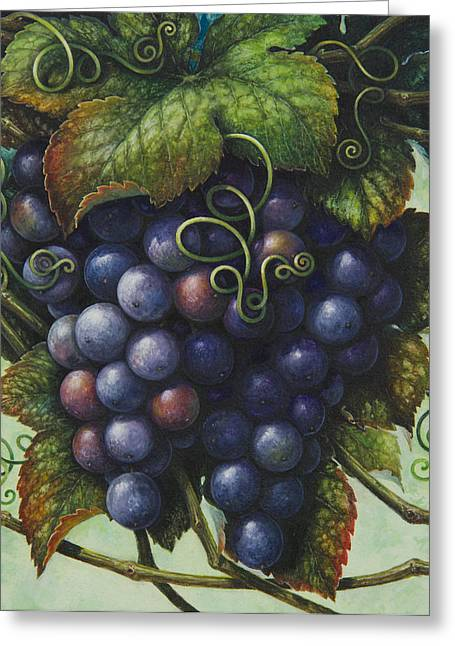 Grape Vine Greeting Cards - Grapes Greeting Card by Lynn Bywaters
