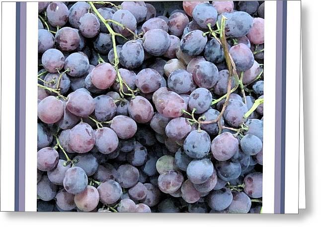 Blue Grapes Photographs Greeting Cards - Grapes  Macro Watercolor Print  Greeting Card by Patricia Sundik