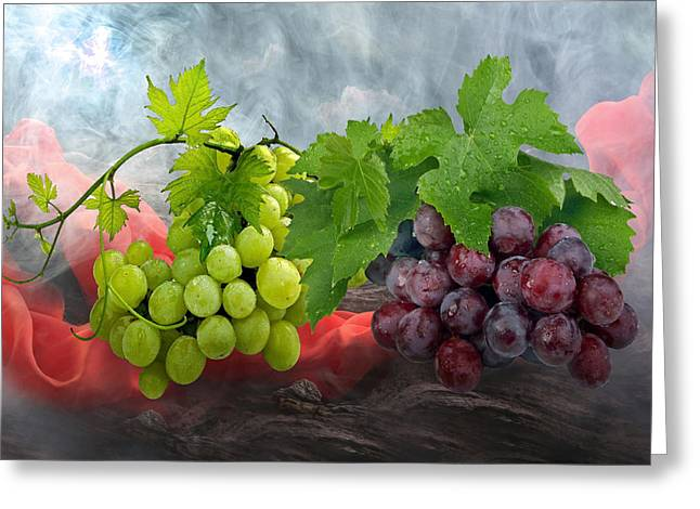 Vine Leaves Greeting Cards - Grapes Greeting Card by Manfred Lutzius