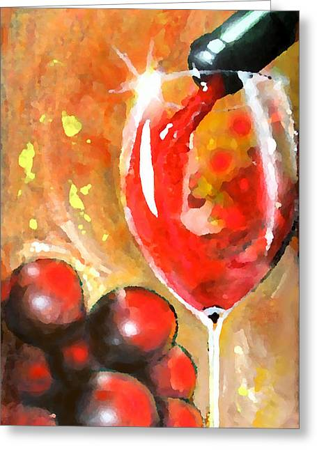 Wine Pour Digital Greeting Cards - Grapes Greeting Card by Marcello Cicchini
